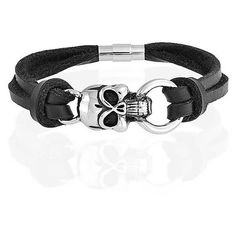 Bling Jewelry Unisex Black Leather Skull Double Knotted Two Cord... (245 ZAR) ❤ liked on Polyvore featuring jewelry, bracelets, accessories, black, oxidized jewelry, rope bracelet, leather bangle, goth jewelry and skull jewellery