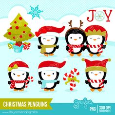CHRISTMAS PENGUINS Digital Clipart,  Christmas Clipart, Penguins Clipart  / Instant Download