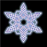 I call it my ice glow snowflake. This Celtic knot  design features a white interior, and then the shadow transitions from purple to blue to cyan to white. Designed by Stefan Coleman