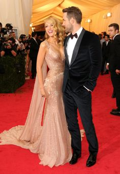 MET GALA 2014 Blake Lively, Ryan Reynolds Both in Gucci. Blake Lively wears shoes by Christian Louboutin.
