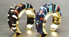 Charles Loloma Bracelets, ca. 1975 left: 14k gold, wood, fossilized ivory, coral, lapis lazuli, turquoise, jade right: 14k gold, lapis lazuli, turquoise, coral, wood