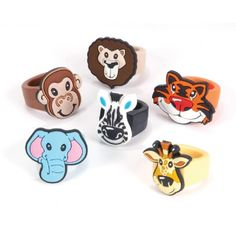 Zoo Animal Rubber Rings (Bulk Pack of 12 Rings) at theBIGzoo.com, an animal-themed superstore.
