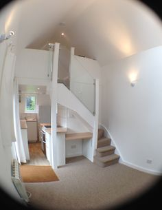 Here it is, the finished Tiny House, ready to move into. The following images have been taken with a fish-eye lens to get as much of the space into the pictures as possible. As night falls the spac… ~ Great pin! For Oahu architectural design visit http://ownerbuiltdesign.c