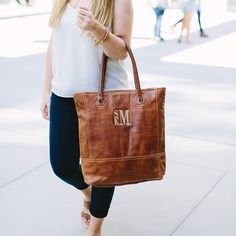 """84 Likes, 3 Comments - Fall Collection Coming Soon! (@sassysoutherngals) on Instagram: """"Start with an amazing leather tote, add a monogram and you're ready for anything! Also available…"""""""