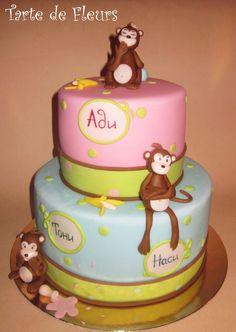 Monkey cake for triplets — Children's Birthday Cakes