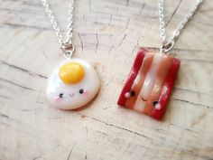 Bacon and eggs friendship necklace best by ClayCreationsForEver