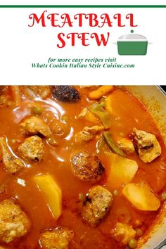 Meatball Stew Best Soup Recipes, Healthy Crockpot Recipes, Chili Recipes, Amazing Recipes, Easy Dinner Recipes, Delicious Recipes, Dinner Ideas, Favorite Recipes, Meatball Stew