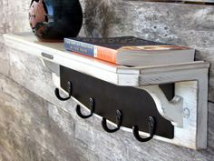 Shabby Chick Shelf with Chalkboard Key Rack Coat by TheWoodenAttic, $75.00