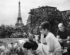 In Paris while filming with William Holden on the roof of the Hotel Raphael.