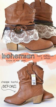 Boot Makeover Tutorial Bohemian Boot Makeover Tutorial I'm so going to do this to my boots! Got the same pair.Bohemian Boot Makeover Tutorial I'm so going to do this to my boots! Got the same pair. Hippie Stil, Mode Hippie, Mode Boho, Bohemian Boots, Botas Boho, Party Kleidung, Diy Vetement, Kinds Of Shoes, Boot Cuffs