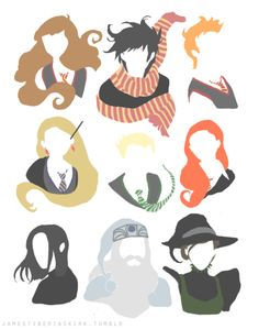 hermione, harry, ron, luna, draco, ginny, snape, dumbledore, and minerva