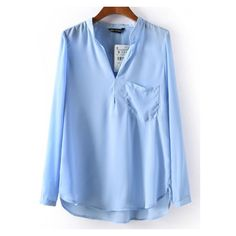 Stand Collar Pocket Blue Blouse (290 UYU) ❤ liked on Polyvore featuring tops, blouses, shirts, camisas, romwe, pocket blouse, blue shirt, blue blouse, pocket tops and shirt top