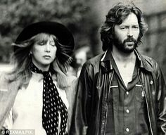 Pattie Boyd and Eric Clapton at the funeral for Keith Moon.