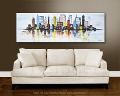 Peinture+abstraite+grand+paysage+urbain+original+par+RawArtGallery,+$349,00