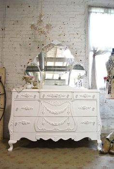 Painted Cottage Chic Shabby French Dresser with by paintedcottages