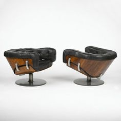 Martin Grierson; Rosewood, Aluminum and Leather Lounge Chairs for Arflex, 1971.