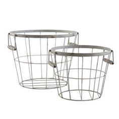 Round Wire Baskets with Handles