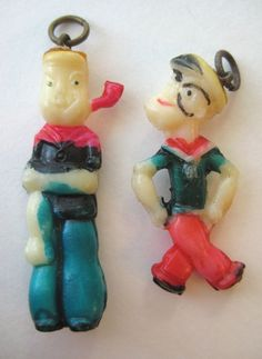 VINTAGE Celluloid Two Different POPEYE Cracker Jack Prize Toy Charms LOT