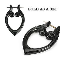 Organic Hand Carved Horn Tribal Stirrup Hanger Earring Set | Body Candy Body Jewelry