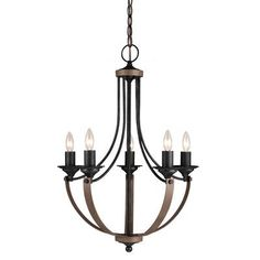 Kichler Evan Light Globe Style Chandelier W Chain Distressed