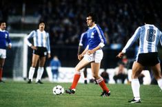 Argentina 2 France 1 in 1978 in Buenos Aires. Up and coming French star Michel Platini has lots of room in midfield in Group 1 at the World Cup Finals.
