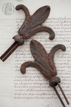 SALE*Pair Antique French Brocante Fleur de Lis Curtain Pulls...Vignettes...FREE US Shipping