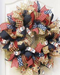 Patriotic Wreath 4th of July Wreath Burlap by PinkBluebonnet Patriotic Crafts, Patriotic Wreath, July Crafts, 4th Of July Wreath, Wreath Crafts, Diy Wreath, Burlap Wreath, Wreath Ideas, 4th Of July Party