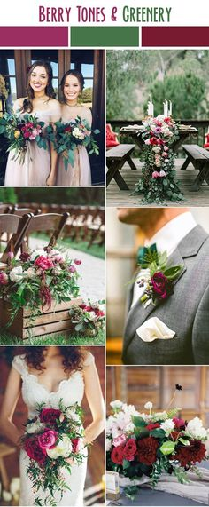 berry tone and greenery organic summer wedding color inspiration