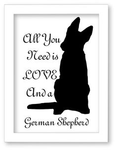 Printable German Shepherd Dog Silhouette All You by DIGIArtPrints, $5.00