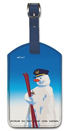 Leatherette Vintage Hawaiian Art Luggage Tag  Winter Destinations ** More info could be found at the image url.