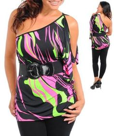 Neon Swirl One Shoulder Knit Top with Belt - Size 2XL - New - Free Shipping