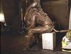 "Taking a break on the set of ""Aliens"" 