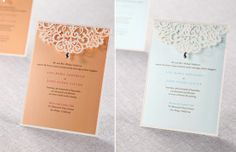 Colored invites with lace overlay from B Wedding Invitations