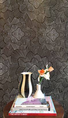 Pinstripe Floral Noir Removable Wallpaper