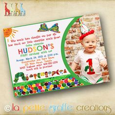 Free Very Hungry Caterpillar Invitation Template with