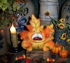 "Primitive Halloween Leaf Fall Raggedy Ornament 4"" Doll vtg Patti's Ratties Bear in Dolls & Bears, Bears, Artist | eBay"