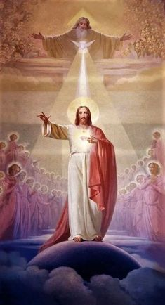 Holy Trinity, God the Father, the Son and the Holy Spirit , Pictures Of Jesus Christ, Religious Pictures, Mary And Jesus, Jesus Is Lord, Jesus Father, Catholic Art, Religious Art, Jesus Painting, Jesus Art