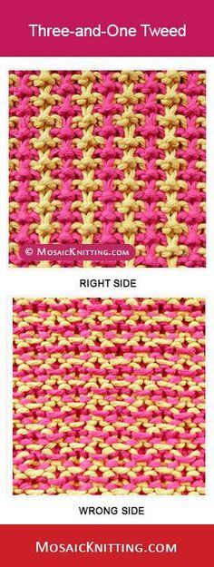 How to knit the Three and One Tweed stitch. Best image about Slip stitch, mosaic knitting.