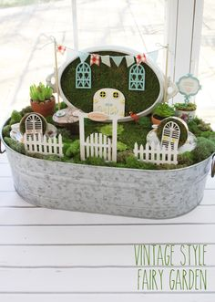 This post is a partnership with Plaid. All opinions are my own. ;) Have you gotten caught up in the Fairy Garden craze? I have been dying to make one for quite a while. There are so many cute ideas out there but I just knew I had to use some vintage things in mine! …