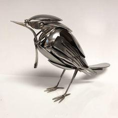 Standing metal bird