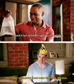 New Girl. Winston: Check it out, Schmidt. I got you a clown fish. Schmidt: I don't want some junky fresh-water bitch fish, Winston. New Girl Memes, New Girl Funny, Girl Humor, The Funny, Tv Show Quotes, Movie Quotes, New Girl Schmidt, Schmidt New Girl Quotes, New Girl Tv Show