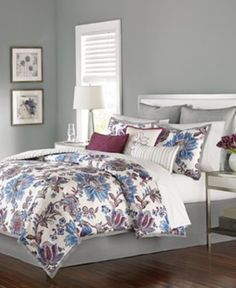 CLOSEOUT! Martha Stewart Collection Austen 9-Pc. Comforter Sets $111.97 Delicate florals are in full bloom in the Austen comforter sets from Martha Stewart Collection. Cool blue, plum & gray hues against a pure white ground offer a decidedly sophisticated bedding update.