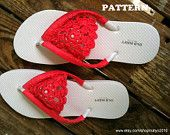 INSTANT DOWNLOAD Crochet Pattern Applique Flip Flops - PDF