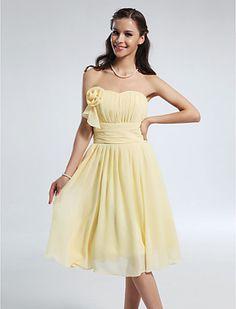 A-line Princess Sweetheart Knee-length Chiffon Bridesmaid Dress - USD $ 69.99