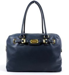 """MICHAEL KORS Large Hamilton Leather Weekender in Gold / Navy Blue. 17"""" (W) x 12"""" (H) x 7"""" (D)"""