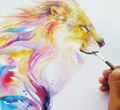 Artist Luqman Reza creates expressive animal paintings using watercolor paint. His artwork is truly stunning. Watercolor Lion, Watercolor Animals, Watercolor Paintings, Watercolors, Watercolor Tattoo, Art And Illustration, Art Design, Animal Paintings, Painting Inspiration