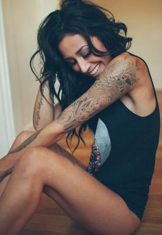 This sweet and shaded beauty: | 23 Beautifully Delicate Tattoo Sleeves That'll Make You Want To Get Inked