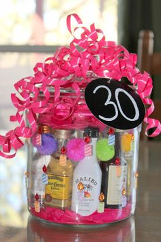 My friend is turning 30 this year. I have waited 4 years for her birthday and I will tell you why. When I first met her I was 30 and she was She told me I was old and then more than a few … (Old Liquor Bottle) 30th Birthday Gifts For Best Friend, 30th Birthday Party For Her, Birthday Ideas For Her, Birthday Cards For Her, Surprise Birthday, Birthday Cakes, 50th Birthday, Mini Liquor Bottles, Jar Gifts