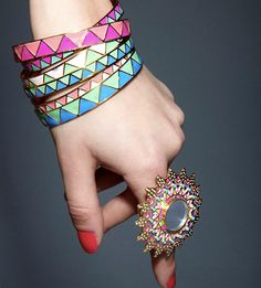 Manish Arora Amrapali collection Candy enamel bangles with mirror ring.