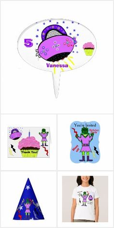 Cute Alien Robot Girl Birthday Party Invitation Sets, Party Hats, custom Postage Stamps, Favor Boxes, Desserts, Shirts and more.   Personalize for any age for free.  Original designs by TamiraZDesigns.